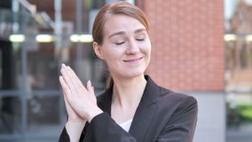 Applauding Young Businesswoman, Clapping stock footage