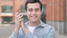 Applauding young man, clapping stock footage