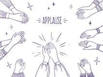 Applaudissements de griffonnage Mains heureuses de personnes, cinq illustration élevée, aspiration de croquis des mains de applau illustration libre de droits