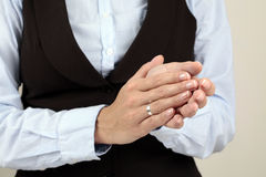 Applause. Businesswoman Hands close-up while clapping Stock Image
