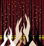 Applause. Against the background of red theater curtain applause stock illustration