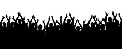 Applause audience. Cheerful mob fans applauding, clapping. Crowd people cheering, cheer hands up. Party, concert, sport. Vector silhouette stock illustration