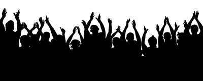 Applause audience. Crowd people cheering, cheer hands up. Cheerful mob fans applauding, clapping. Vector silhouette concert royalty free illustration