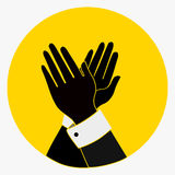 Applause, Clapping Hands Icon. Acclaim sign.black, yellow colors. vintage Applaud Expression symbol. flat style button Royalty Free Stock Image