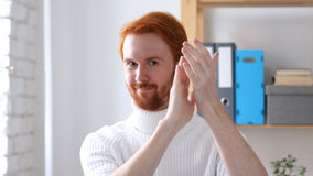 Applause, Clapping Man with Red Hairs Royalty Free Stock Photos