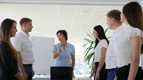 Applause and congratulation with profitable deal of working team in boardroom in business Centre stock footage