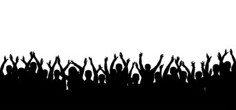 Applause crowd people silhouette. Cheerful crowd cheering. Hands up royalty free illustration