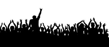 Applause crowd people silhouette. Cheerful fans at a concert party.  Stock Photos