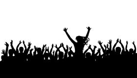 Applause crowd silhouette, cheerful people. Concert, party. Funny cheering, isolated vector. Girl on the shoulders of a man, silhouette background Royalty Free Stock Photo