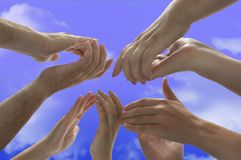 Applause-hands with clipping path. Sky and hands with clipping path Stock Image