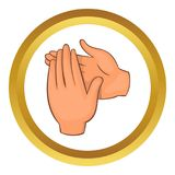 Applause icon. In golden circle, cartoon style isolated on white background royalty free illustration