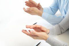 Applause in the office. Applause. Businessmans working with documents in the office stock photography