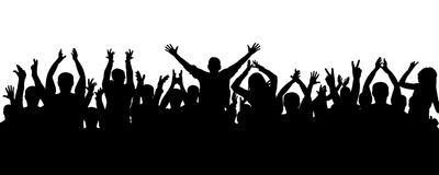 Applause people, crowd silhouette. Cheerful audience applauds. stock illustration