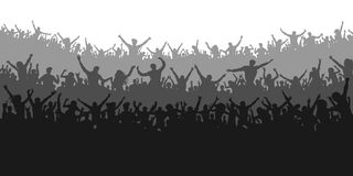 Applause sports fans. Cheering crowd people concert, party. Isolated background silhouette vector. Banner, poster Stock Photography
