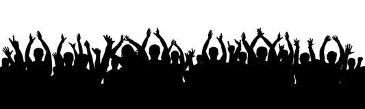 Applauso del pubblico di acclamazione Folla della gente che applaude illustrazione vettoriale