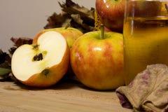 Apple和苹果汁 免版税库存照片