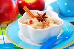 Apple纯汁浓汤用婴孩的葡萄干 免版税库存照片