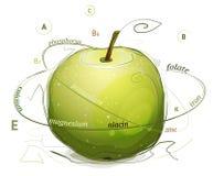 Apple维生素和矿物例证 库存图片