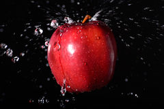 Apple飞溅 免版税库存照片