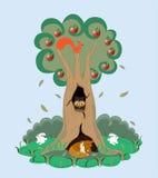Apple-árvore e seus animais. ilustração stock