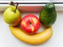 Apple, αβοκάντο, μπανάνα και αχλάδι Στοκ εικόνες με δικαίωμα ελεύθερης χρήσης