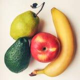 Apple, αβοκάντο, μπανάνα και αχλάδι Στοκ Εικόνες