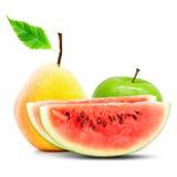 Apple, αχλάδι και καρπούζι Στοκ Εικόνες