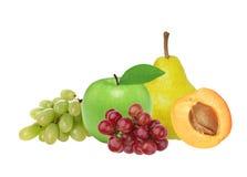 Apple, βερίκοκο, αχλάδι και σταφύλι που απομονώνονται στο λευκό Στοκ Εικόνες