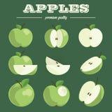 Apple καθορισμένη συρμένο μήλα χέρι Στοκ φωτογραφία με δικαίωμα ελεύθερης χρήσης