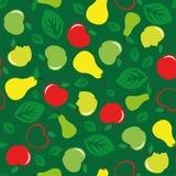 Apple και άνευ ραφής πράσινο υπόβαθρο σχεδίων αχλαδιών Στοκ εικόνα με δικαίωμα ελεύθερης χρήσης