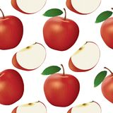 Apple και άνευ ραφής σχέδιο φετών Στοκ Εικόνες
