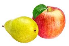Apple και αχλάδια που απομονώνονται στο λευκό Στοκ Εικόνες