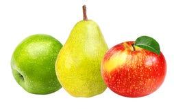 Apple και αχλάδια που απομονώνονται στο λευκό Στοκ φωτογραφία με δικαίωμα ελεύθερης χρήσης