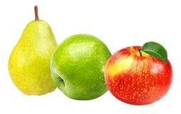 Apple και αχλάδια που απομονώνονται στο λευκό Στοκ Φωτογραφίες