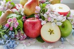 Apple και αχλάδια στη σύνθεση σφαιρών Στοκ εικόνες με δικαίωμα ελεύθερης χρήσης