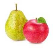 Apple και αχλάδι που απομονώνονται στο λευκό Στοκ Φωτογραφίες