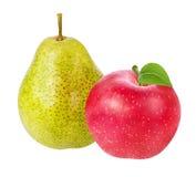 Apple και αχλάδι που απομονώνονται στο λευκό Στοκ Φωτογραφία
