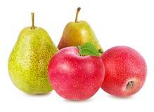 Apple και αχλάδι που απομονώνονται στο λευκό Στοκ Εικόνες