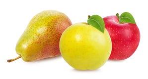 Apple και αχλάδι που απομονώνονται στο λευκό Στοκ εικόνα με δικαίωμα ελεύθερης χρήσης