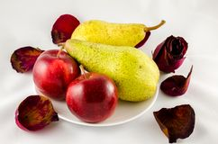 Apple και αχλάδι που απομονώνονται Στοκ Εικόνες