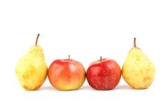 Apple και αχλάδι στο λευκό Στοκ Εικόνες
