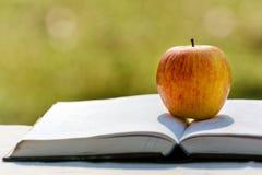 Apple και βιβλίο στη φύση Στοκ φωτογραφία με δικαίωμα ελεύθερης χρήσης