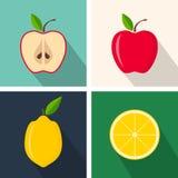 Apple και λεμόνι Ζωηρόχρωμο επίπεδο σχέδιο Φρούτα με τη σκιά τα εικονογράμματα Διαδικτύου εικονιδίων που τίθενται το διανυσματικό Στοκ εικόνα με δικαίωμα ελεύθερης χρήσης