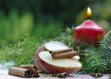 Apple και κανέλα για τα Χριστούγεννα Στοκ Εικόνες
