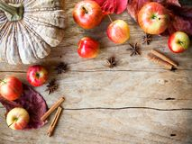 Apple και κολοκύθα στον ξύλινο πίνακα για τα τρόφιμα φθινοπώρου και πτώσης συμπυκνωμένα Στοκ φωτογραφία με δικαίωμα ελεύθερης χρήσης