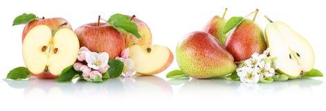 Apple και κόκκινη φέτα φρούτων φρούτων αχλαδιών μήλων αχλαδιών που απομονώνεται στο W Στοκ Φωτογραφίες