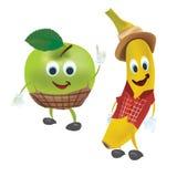 Apple και μπανάνα με τα ενδύματα Στοκ Φωτογραφίες