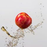 Apple και παφλασμός του χυμού που απομονώνονται στο γκρίζο υπόβαθρο Στοκ Εικόνα