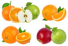 Apple και πορτοκάλι που απομονώνονται στο λευκό Στοκ φωτογραφία με δικαίωμα ελεύθερης χρήσης