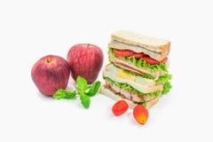 Apple και σάντουιτς λεσχών Στοκ Εικόνες
